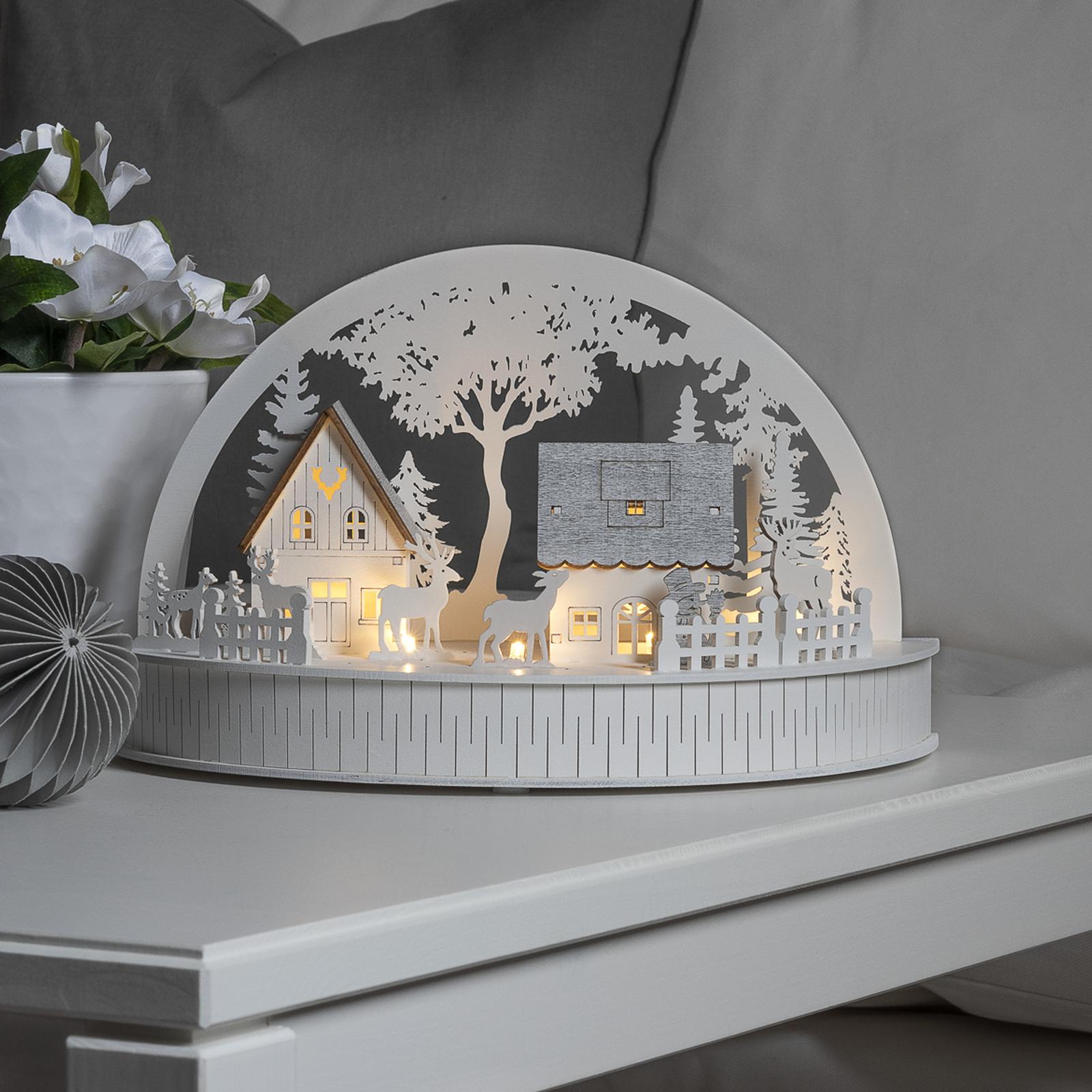 LED-Silhouette Häuser und Rentiere Batteriebetrieb
