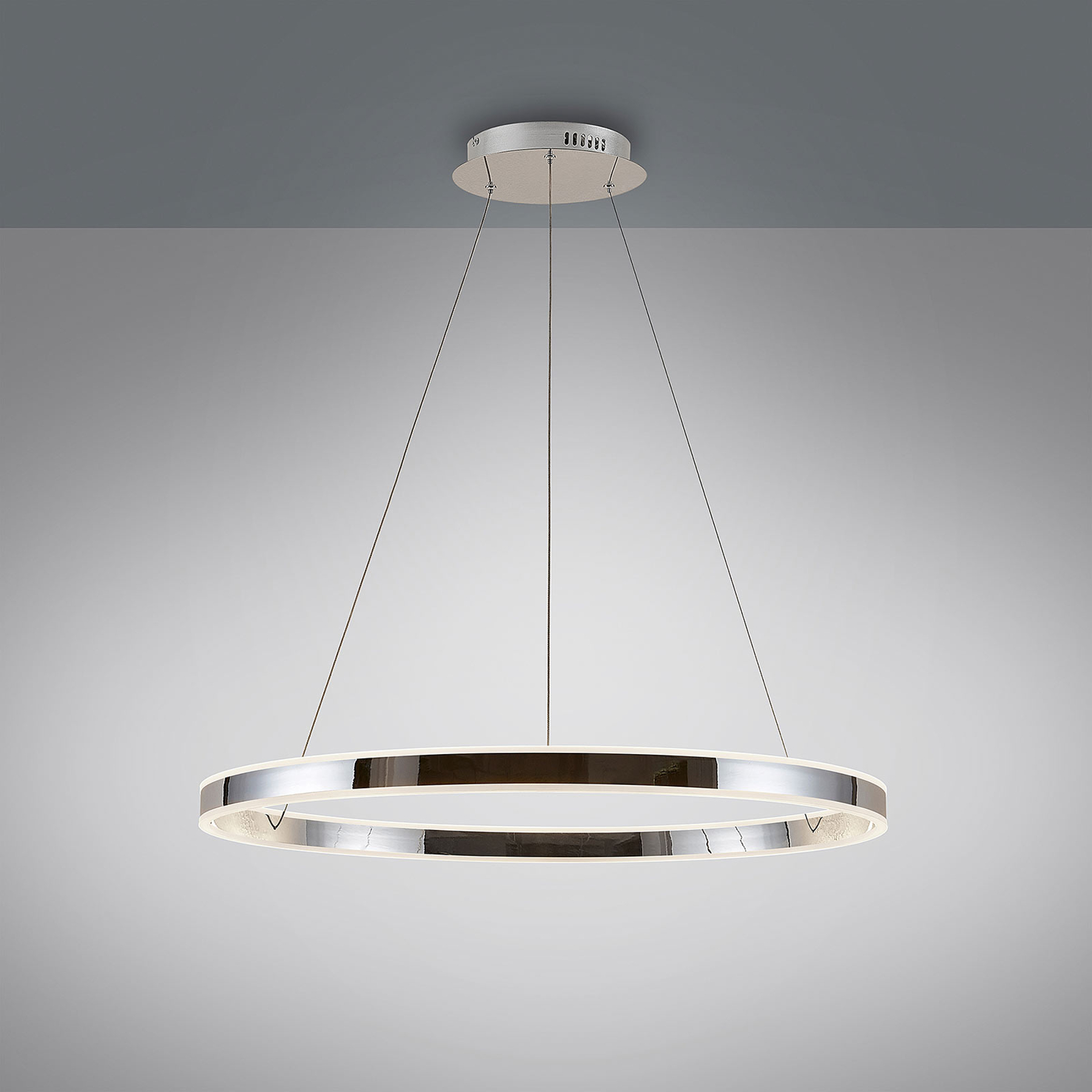 LED-Pendelleuchte Lyani in Chrom, dimmbar, 80 cm