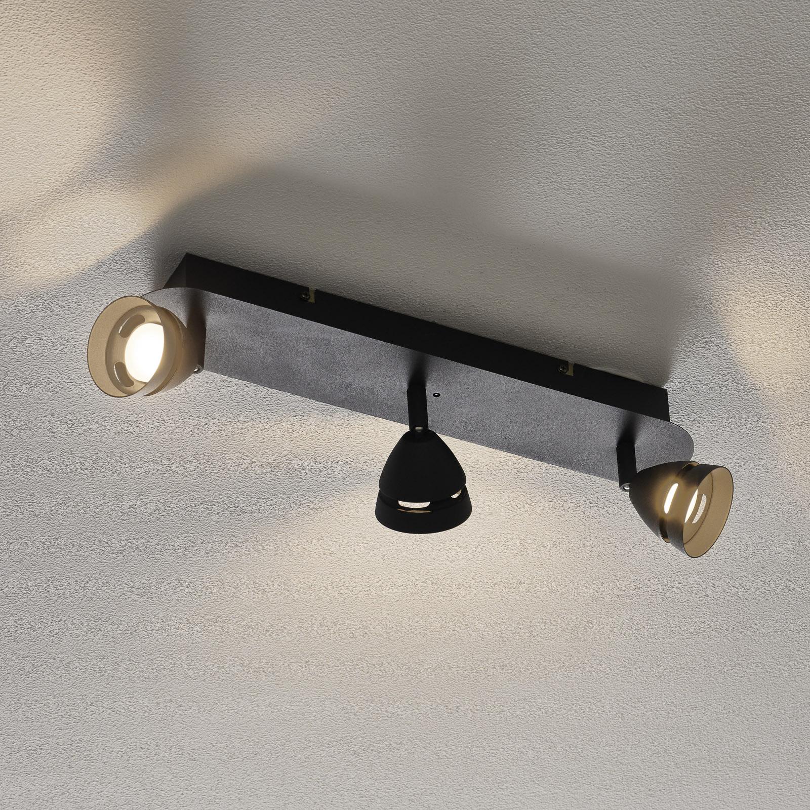 Trio WiZ Gemini LED-Deckenleuchte 3-flg. schwarz