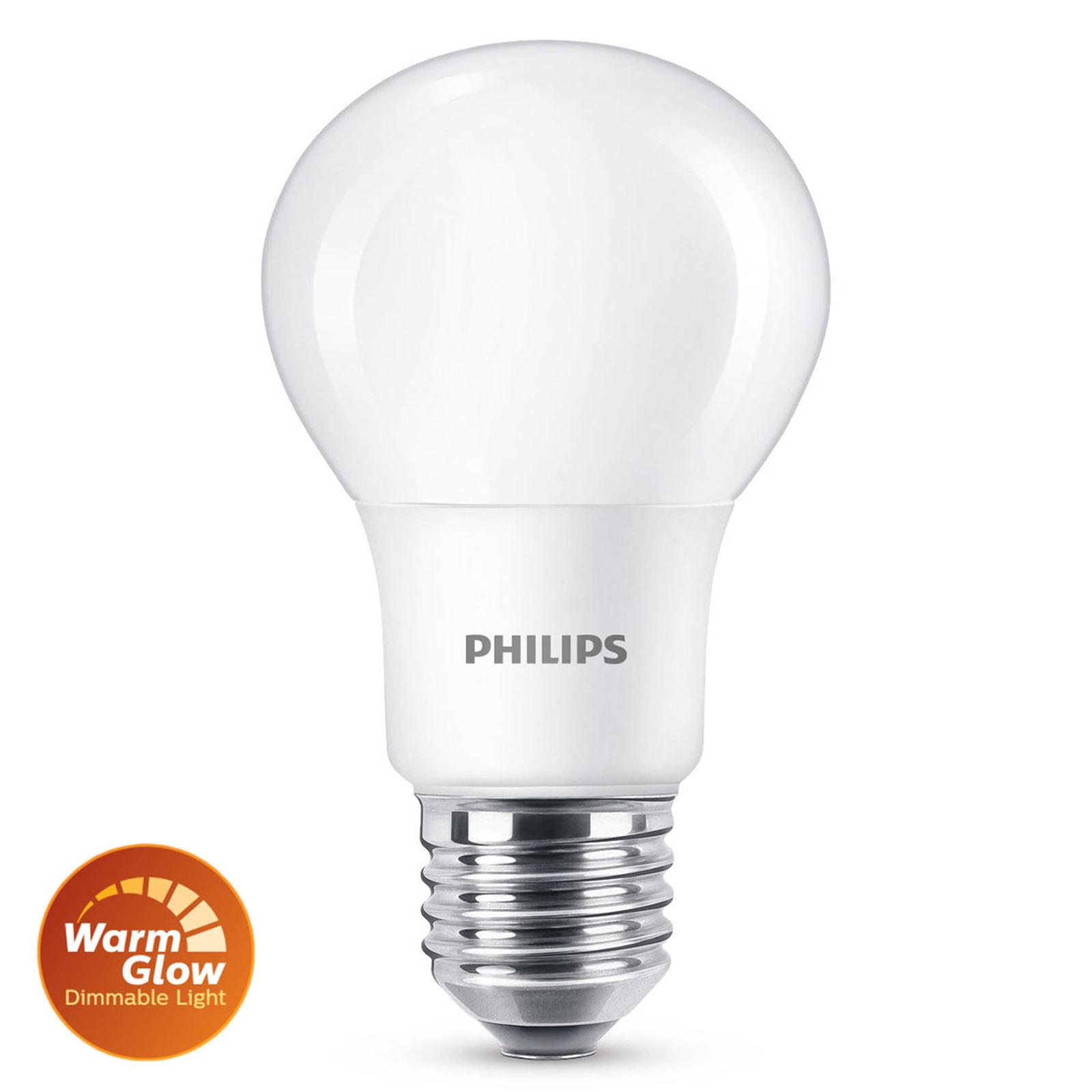 Philips E27 LED-lampa WarmGlow 5 W matt, dimbar
