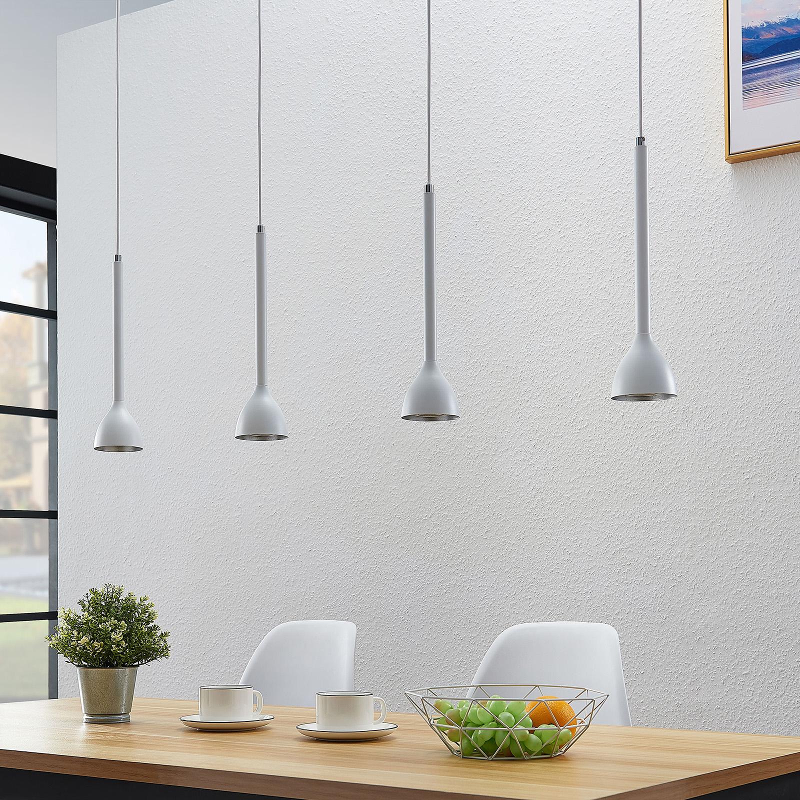 Závěsné světlo Nordwin, 4zdrojové, bílo-stříbrné