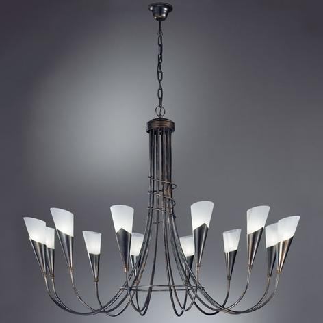 Lámpara de araña CAMPAGNOLA 12 brazos negro-cobre