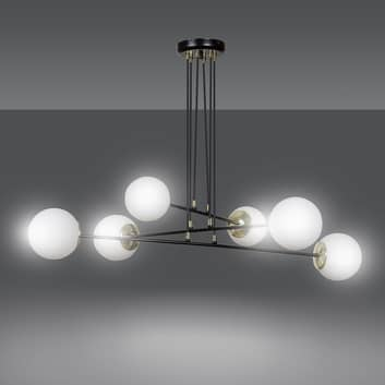 Hanglamp Ognis 6, 6-lamps, zwart/goud