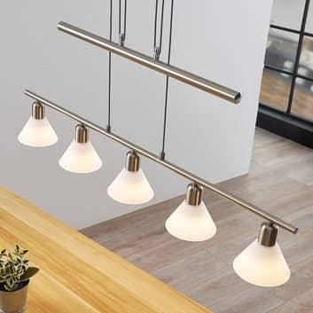 Lámpara colgante Delira 5 luces, níquel
