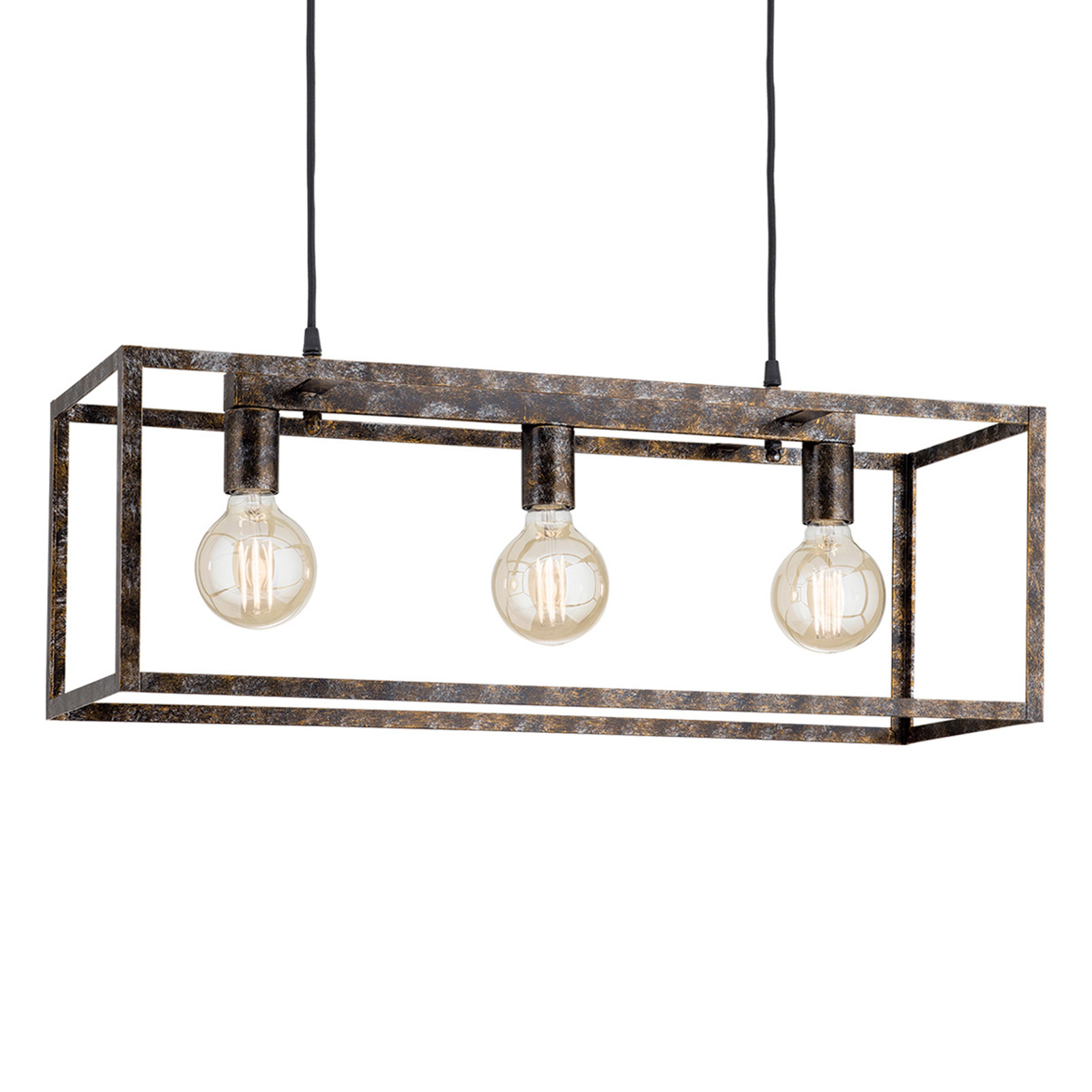Hanglamp Cage in roest-optiek 3 lamps