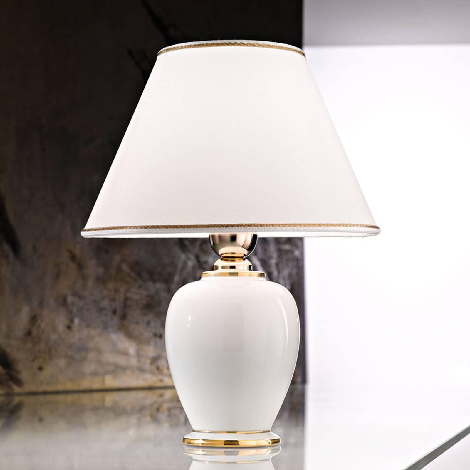 Tafellamp Giardino Avorio in wit-goud, Ø 25 cm