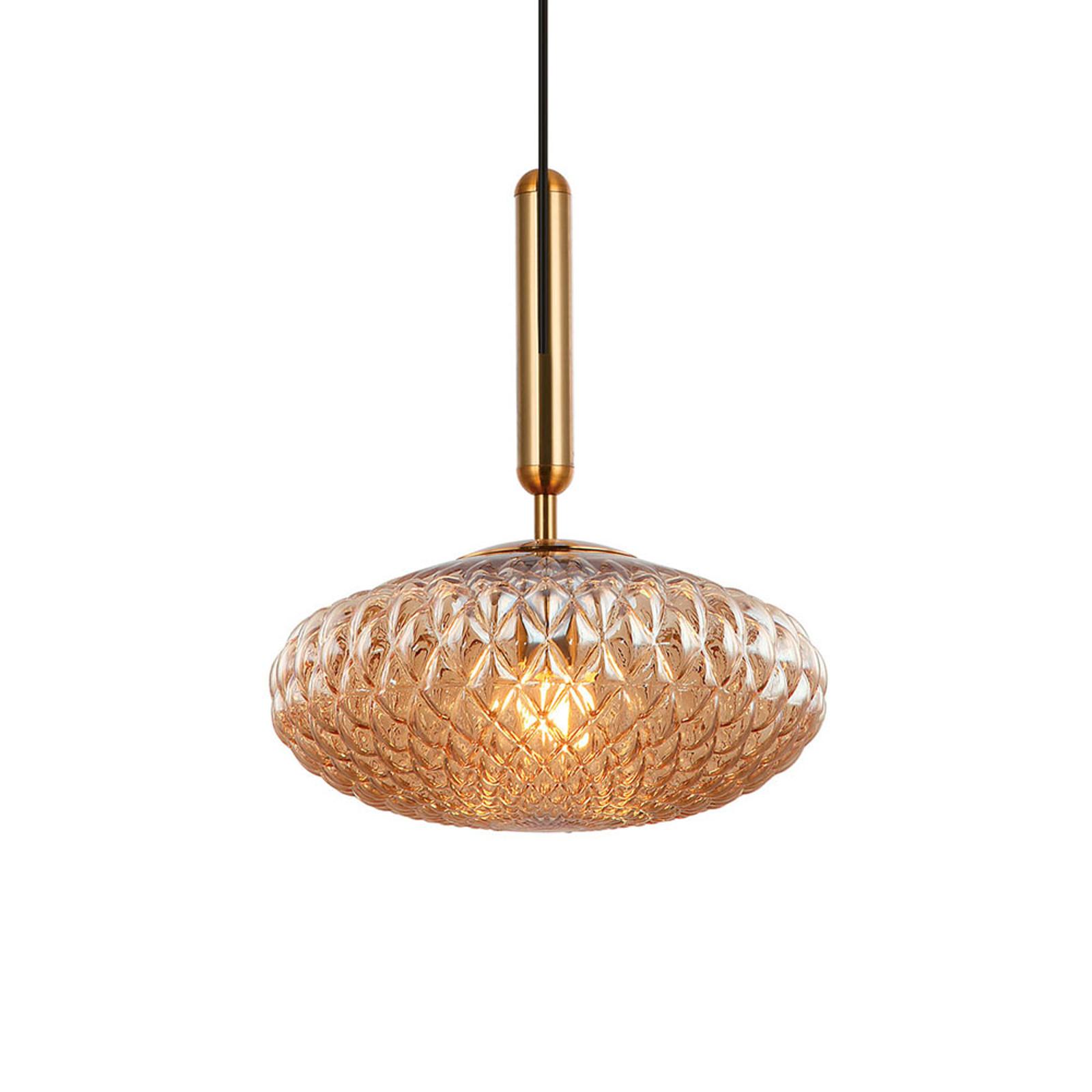 Hanglamp Ester van glas, amber