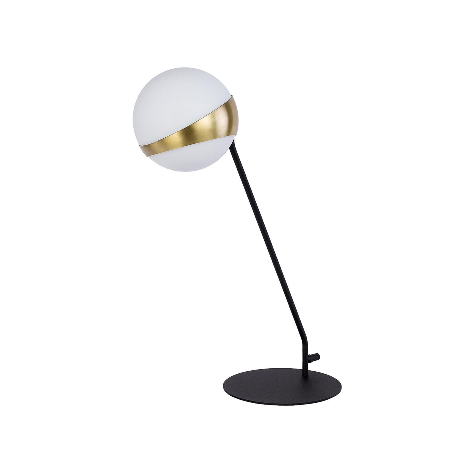 Lampa stołowa Parcel, biała/mosiężna