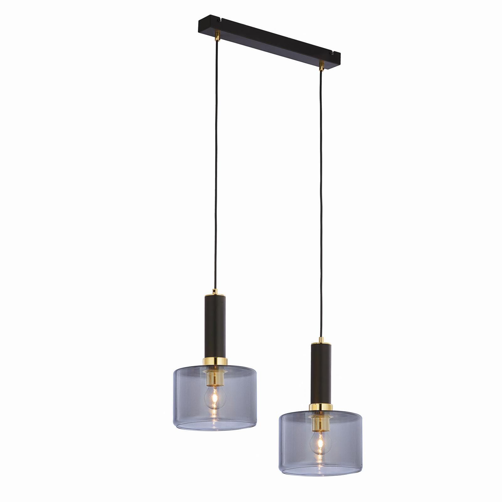 Suspension Viva, fumée/noire/laiton, 2 lampes