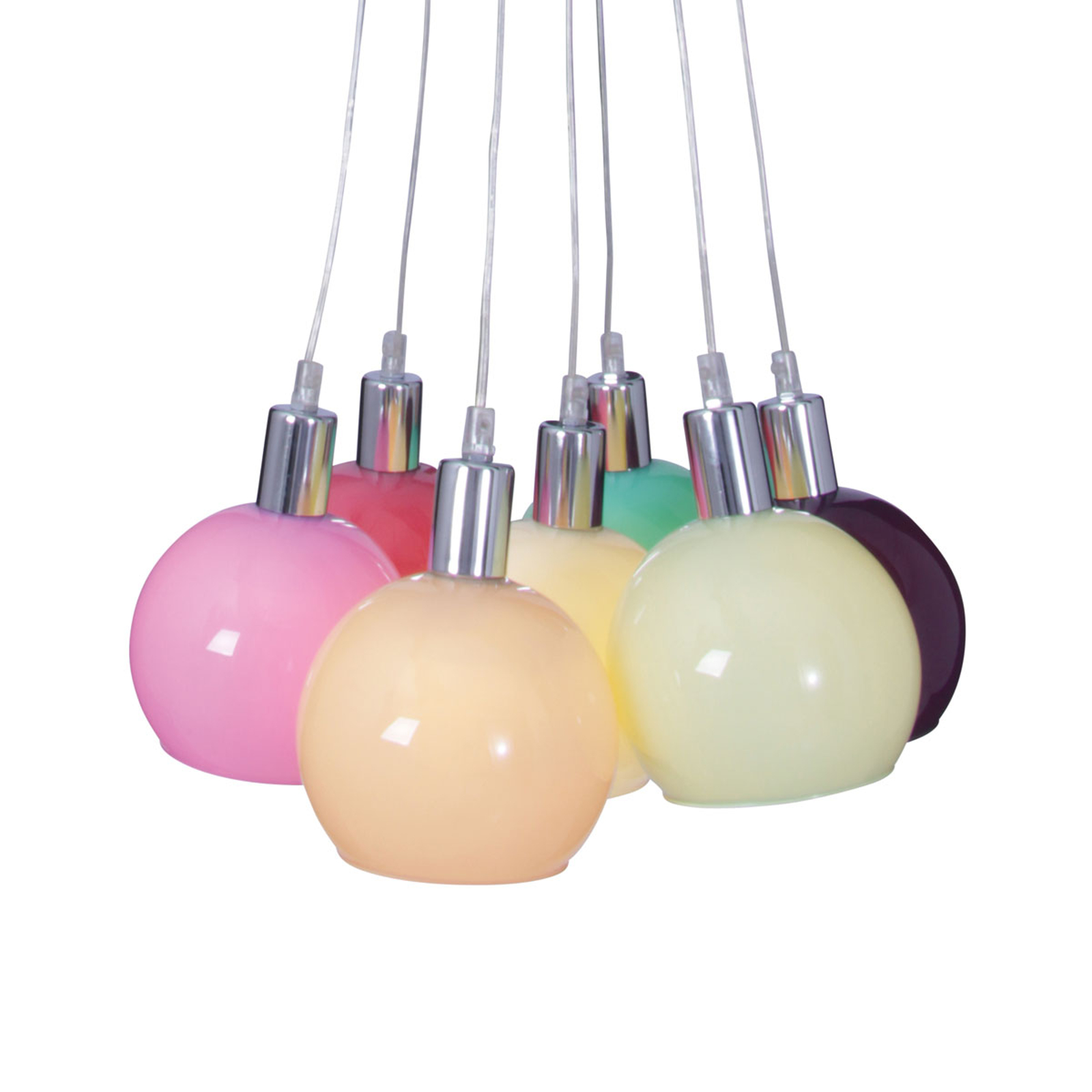 Suspension Rainbow Bowl aux abat-jour multicolores