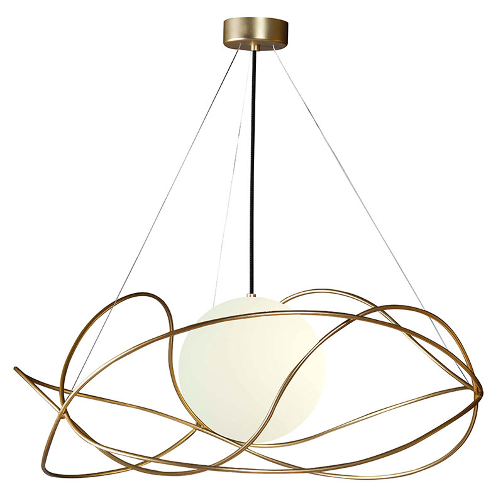 Lampa wisząca Garbuglio złota z kulistym kloszem