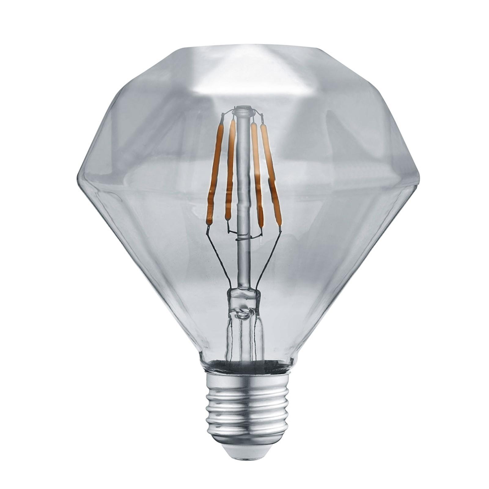 Lampadina LED E27 4W 3.000K Diamant filamenti fumè