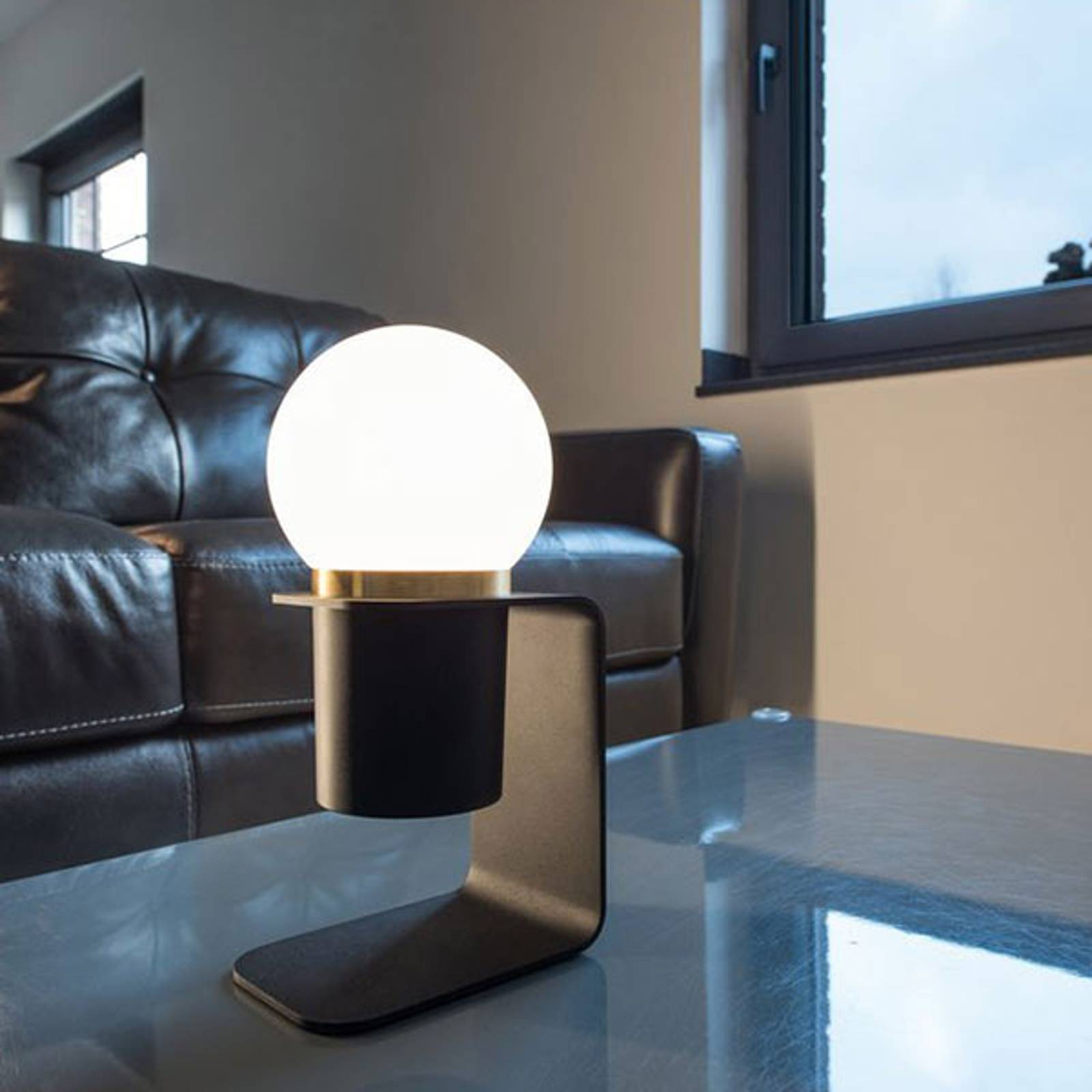 SLV Tonila LED-Tischleuchte schwarz/messing