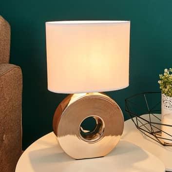 Lampa stołowa Eye, 38 cm, złota ceramiczna stopa