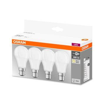 Żarówka LED B22d 9W, ciepła biel, 806 lm, 4 szt.