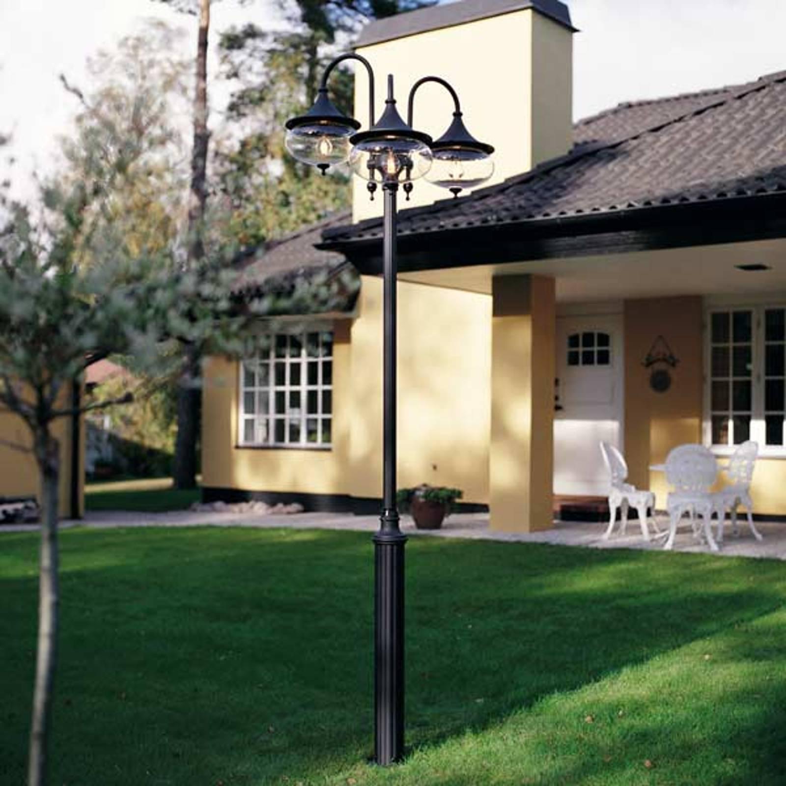 Statige buitenlantaarn LIBRA 3-lichts, zwart