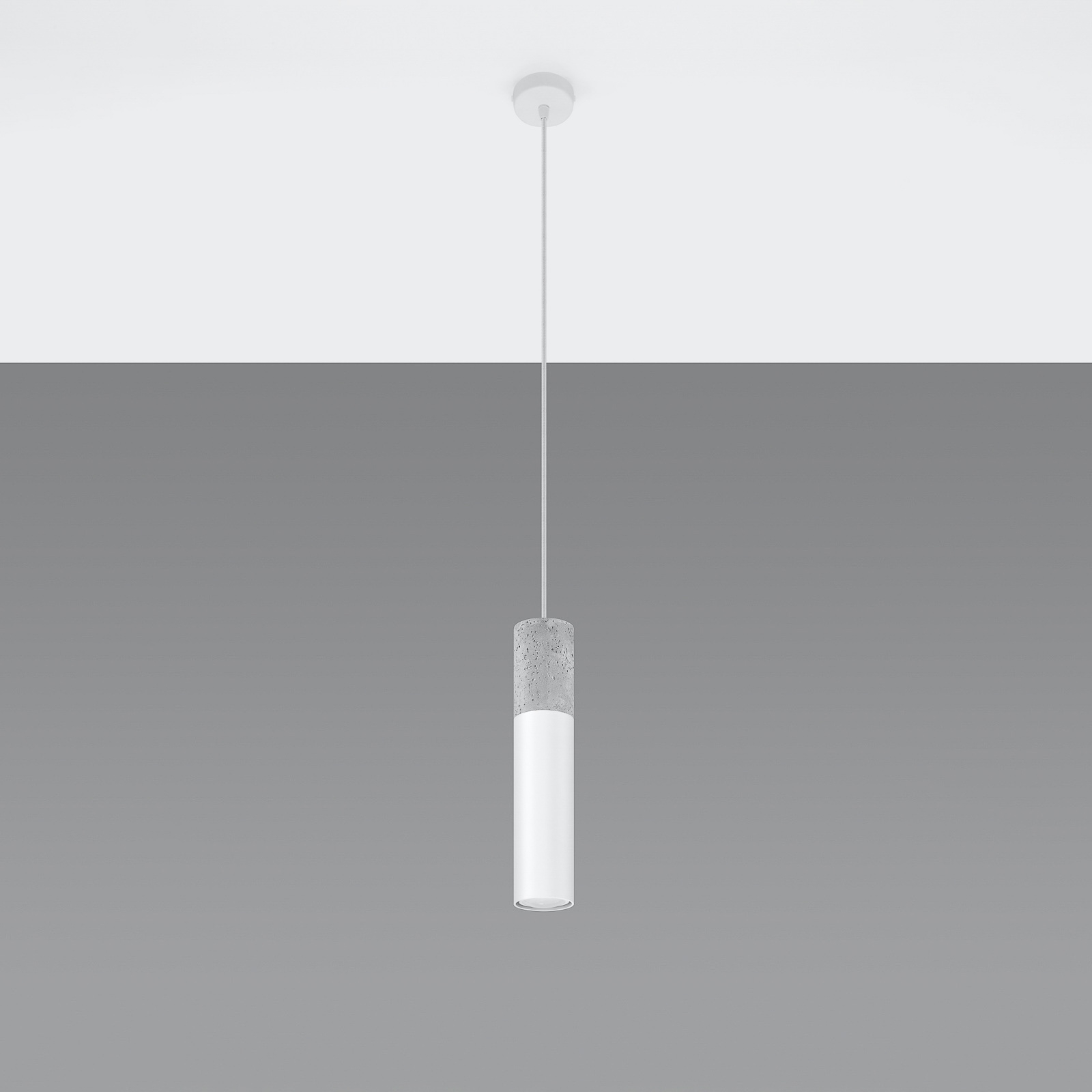 Hanglamp Tube, beton, wit, 1-lamp