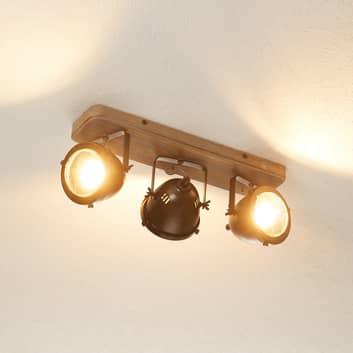 Plafonnier Carmen Wood style industriel - 3 lampes