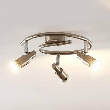 ELC Farida plafonnier LED nickel, 3 lampes