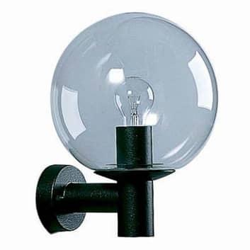 Sort udendørs væglampe med krystalglas