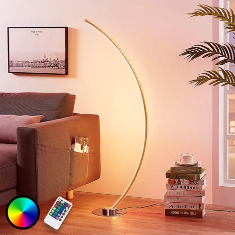 Lampada LED da pavimento Amaro arcuata, RGB