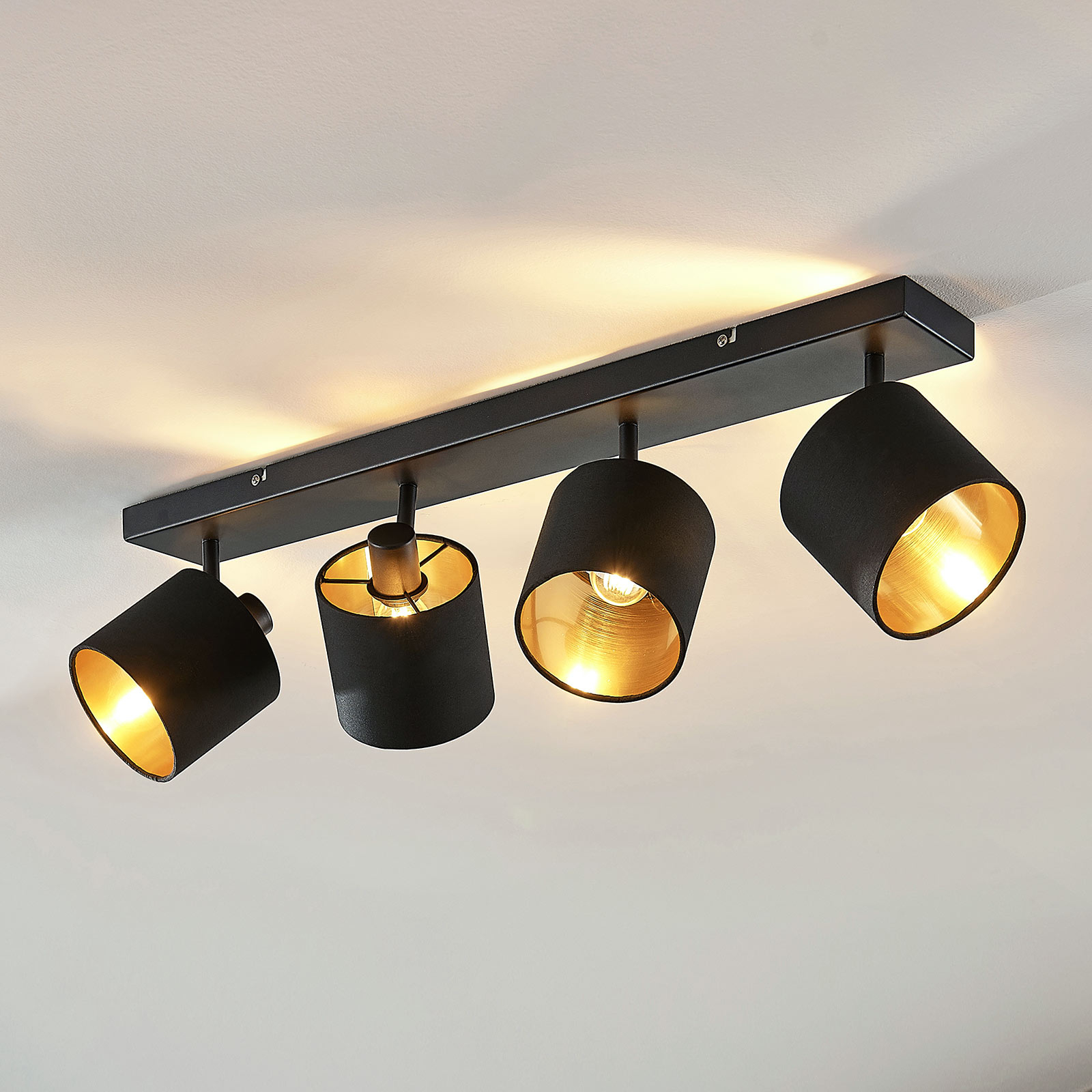 Plafonnier Vasilia en tissu en noir-or, 4lampes