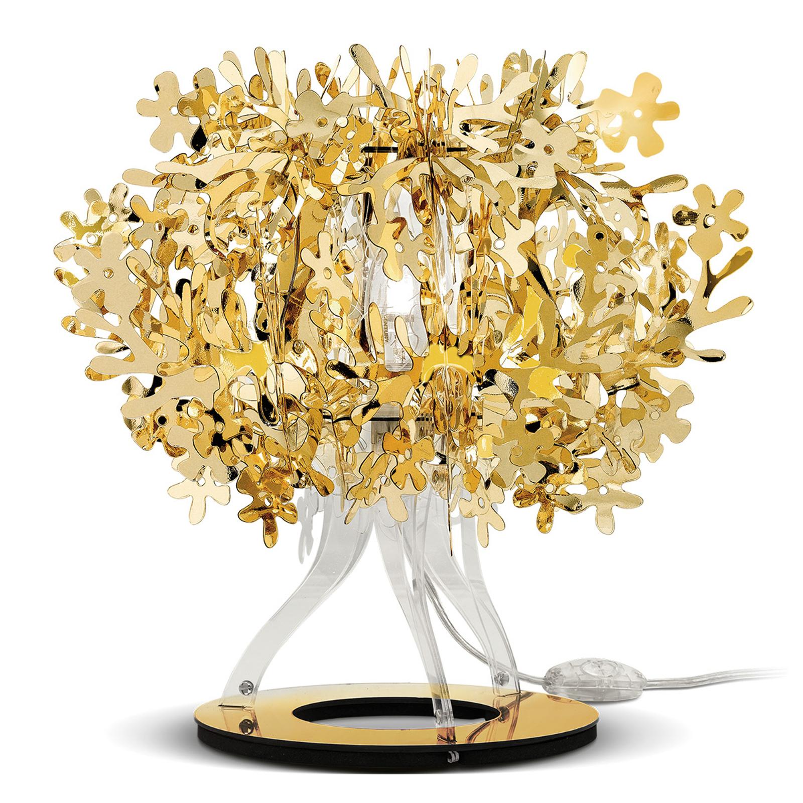 Forellina - designer bordlampe i guld
