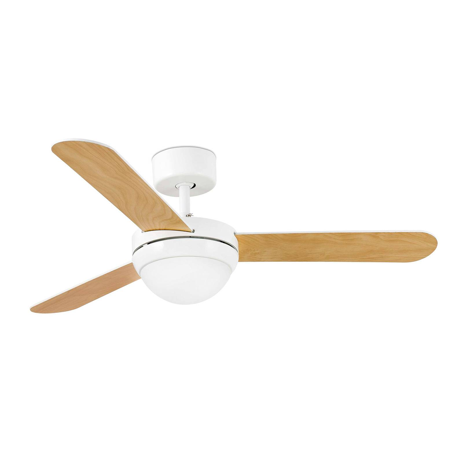 Feroe ceiling fan with light, white/maple