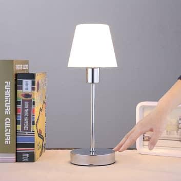 Vakkert formet bordlampe Sascha med glasskjerm