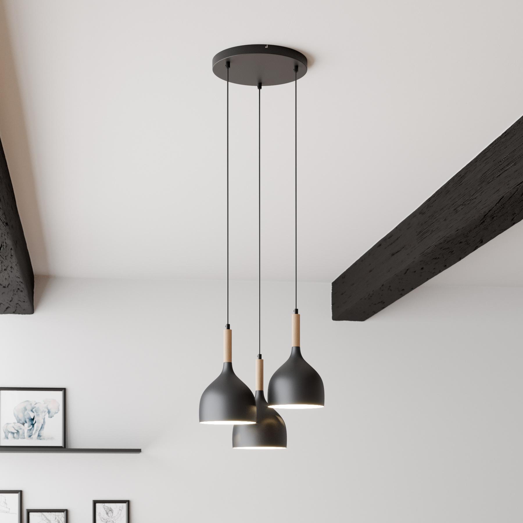Hanglamp Noak 3-lamps rond zwart/hout natuur
