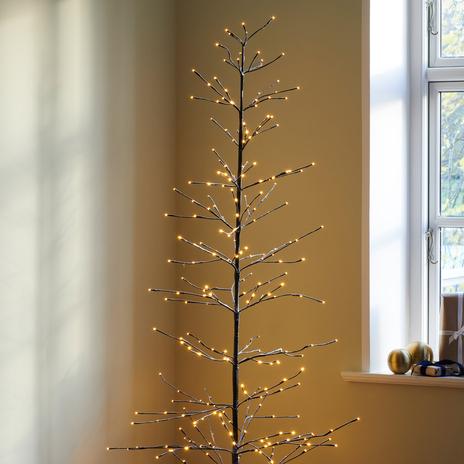 Drzewko LED Isaac 210cm brązowe, ośnieżone