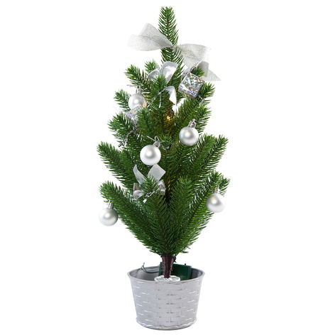 LED kerstboom met decoratie in zilver