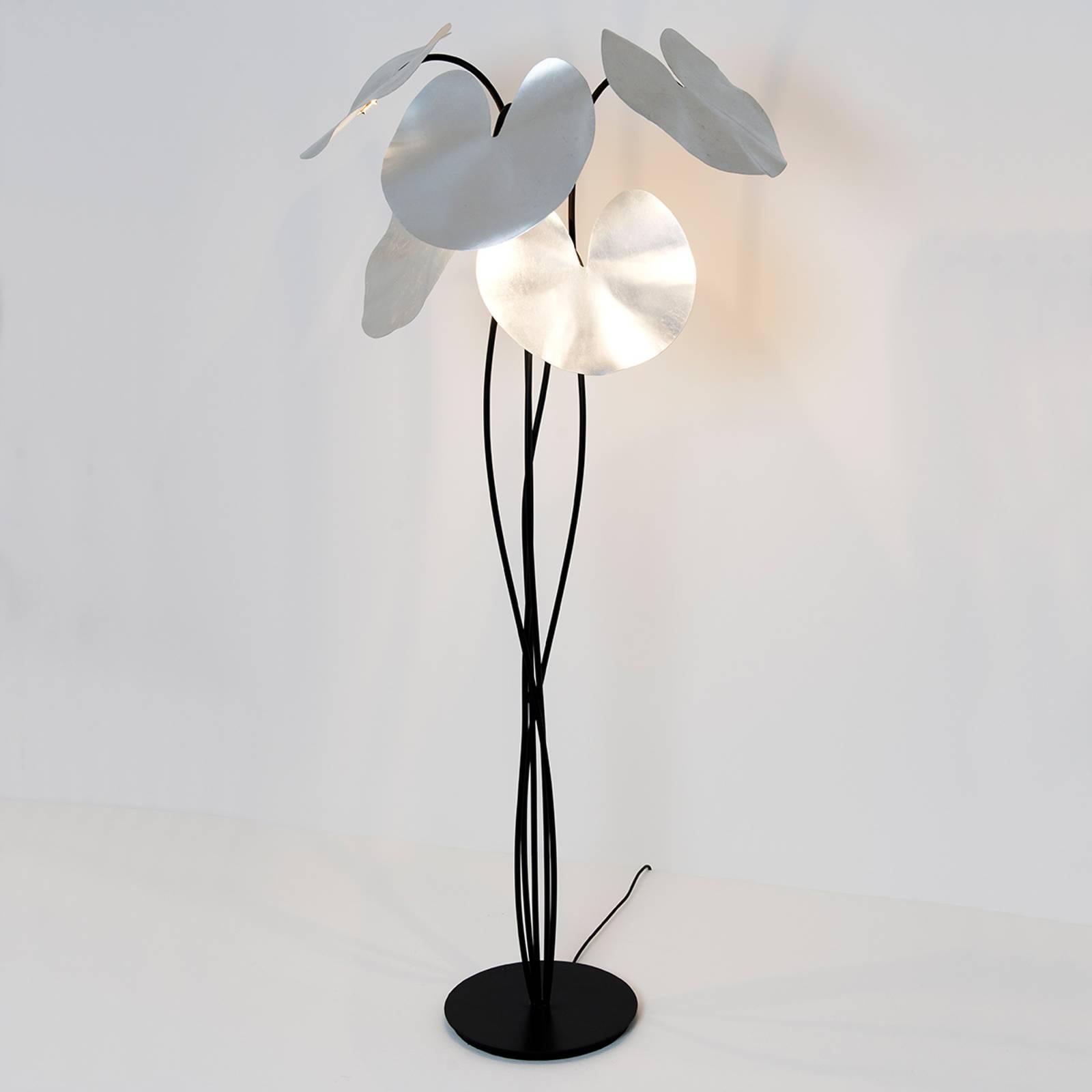 Lampadaire Controversia LED, abat-jour argenté
