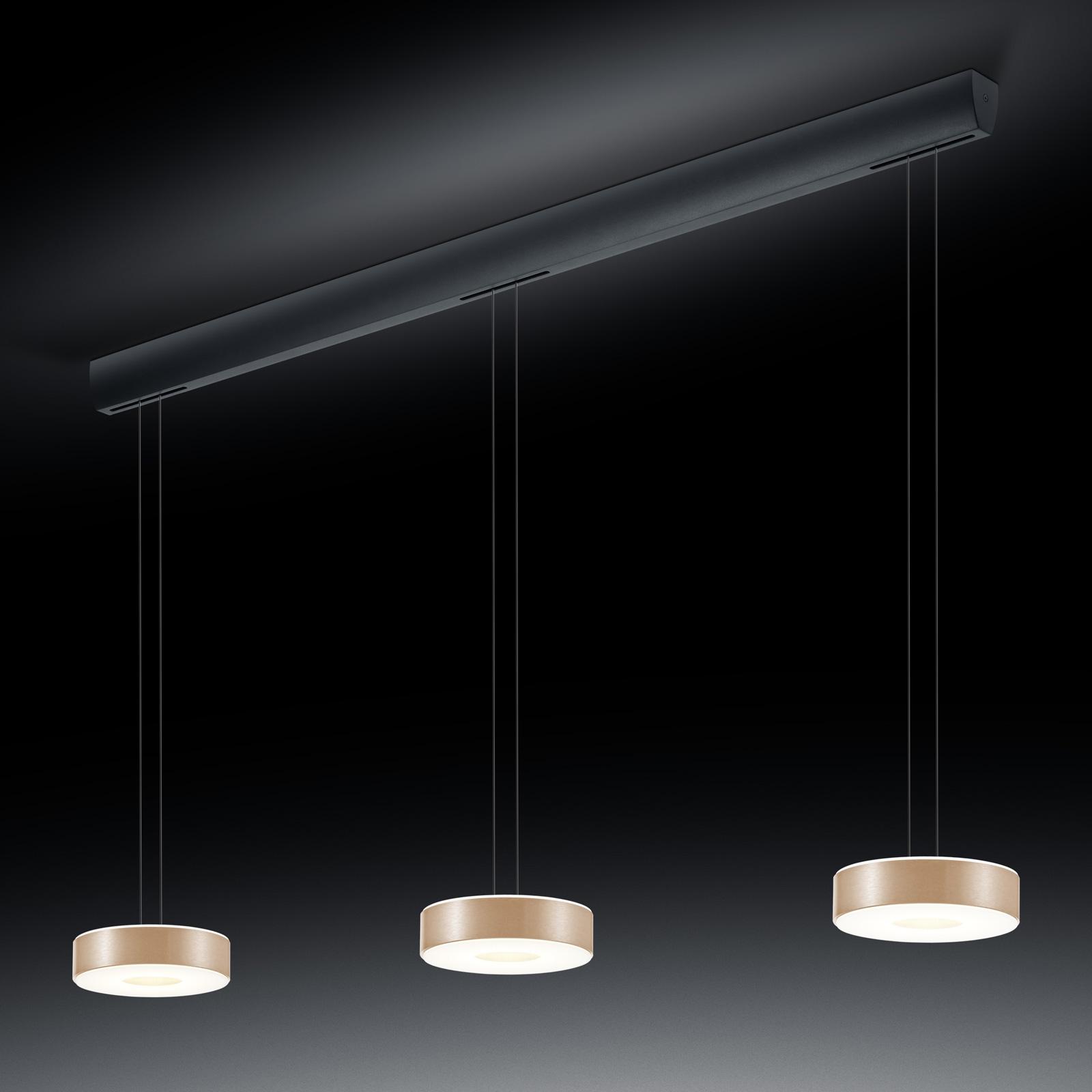 BANKAMP Tondo suspension LED à 3 lampes or rose