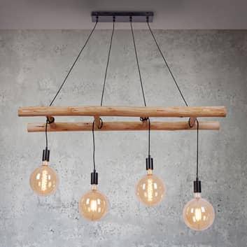Egar Hængelampe i træ, 4 lyskilder