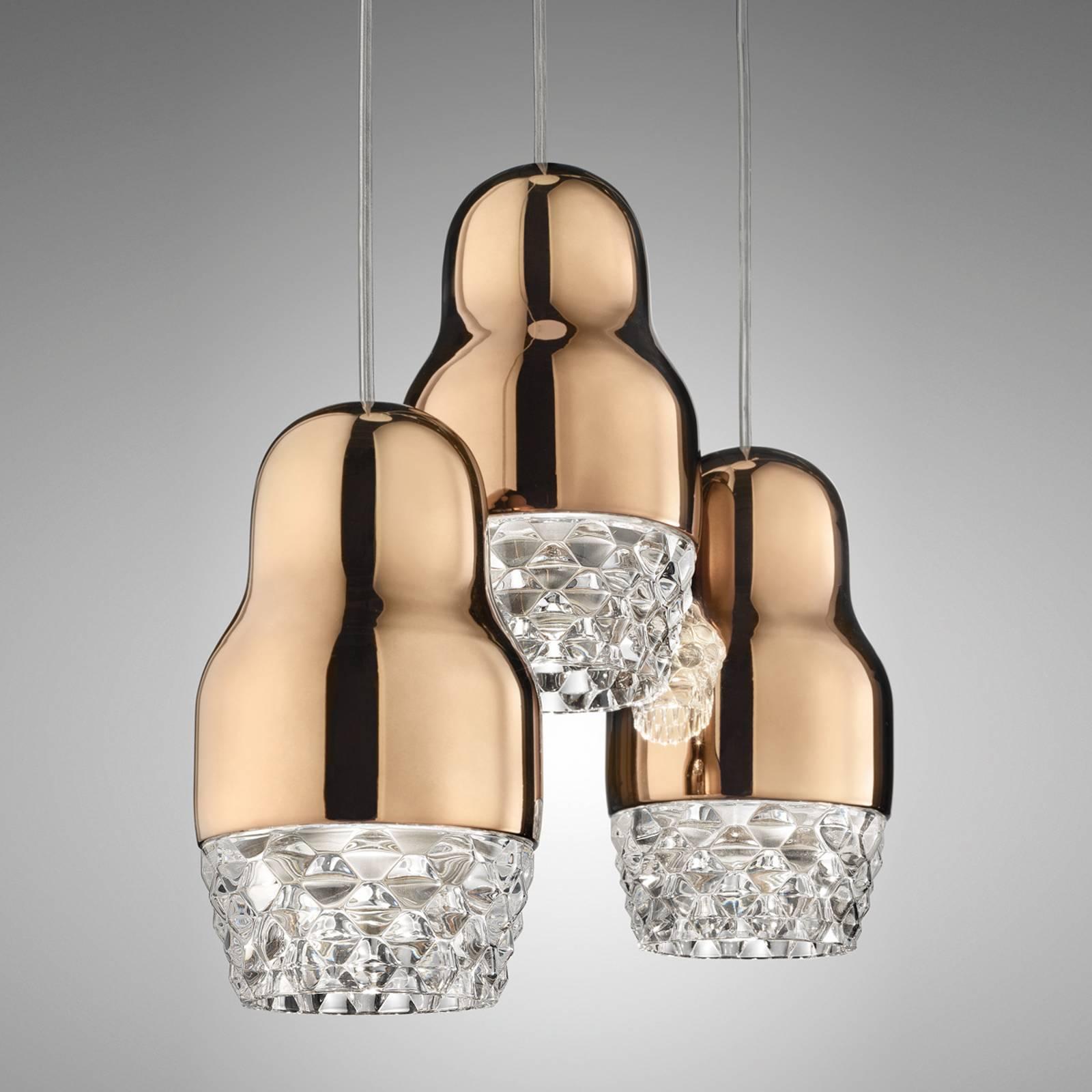 Suspension LED à 3 lampes Fedora rose doré