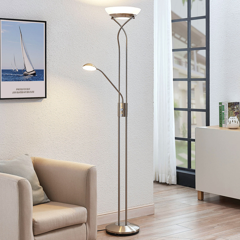 LED-Deckenfluter Luciana m. Leseleuchte, nickel