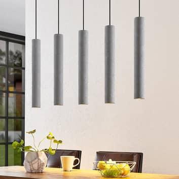 Lindby Concretto hanglamp met 5 betonnen kappen