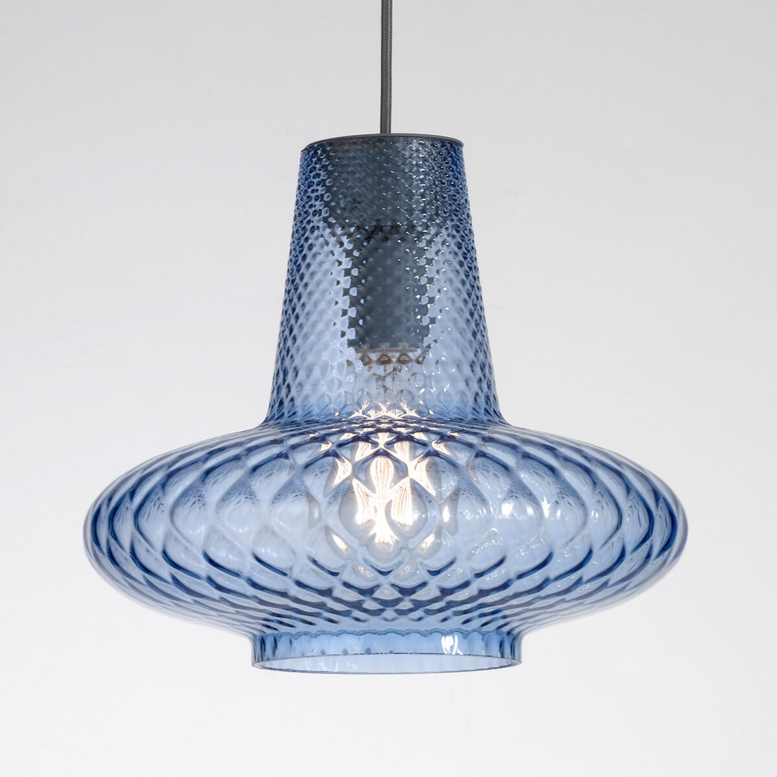 Szklana lampa wisząca Giulietta, niebieska
