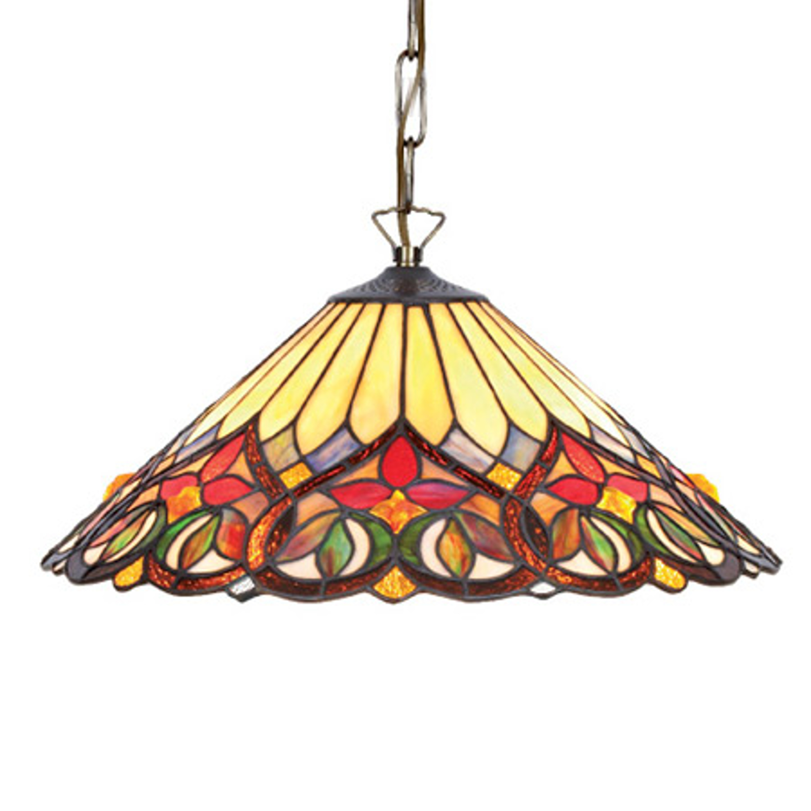 Bonte glazen hanglamp Anni in Tiffany-stijl
