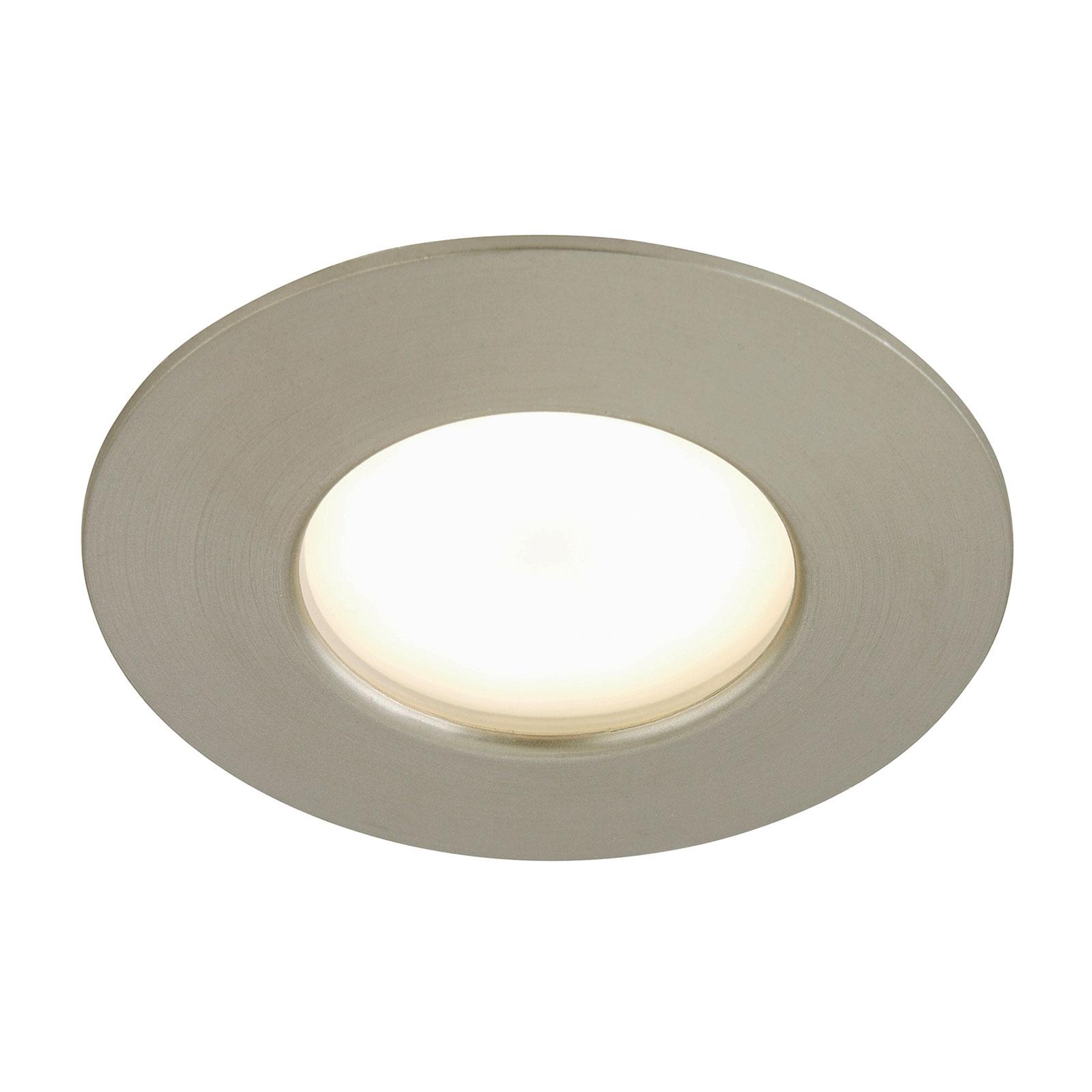 Felia - LED-innbyggingslampe IP44, nikkel matt