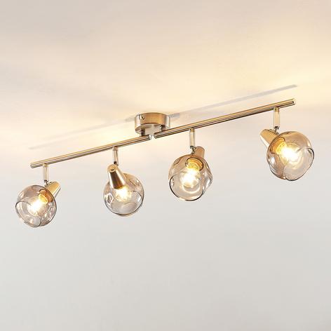 Lindby Almina lámpara de techo vidrio humo 4 luces