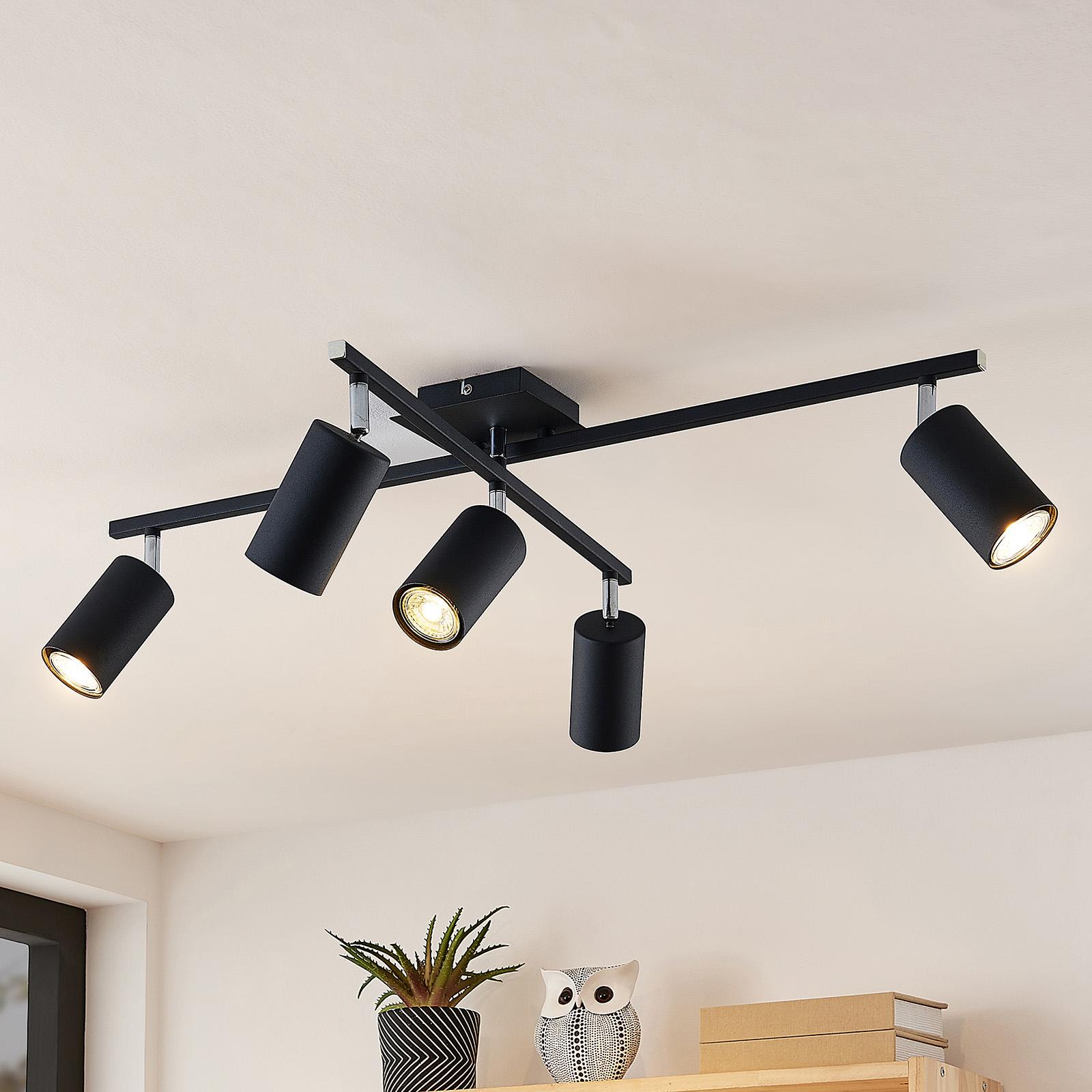 Lindby Ebardo plafonnier, à 5 lampes, noir