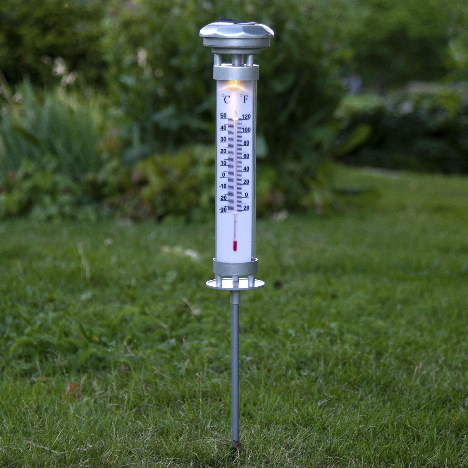 LED-solcellelampe Celsius, udendørstermometer