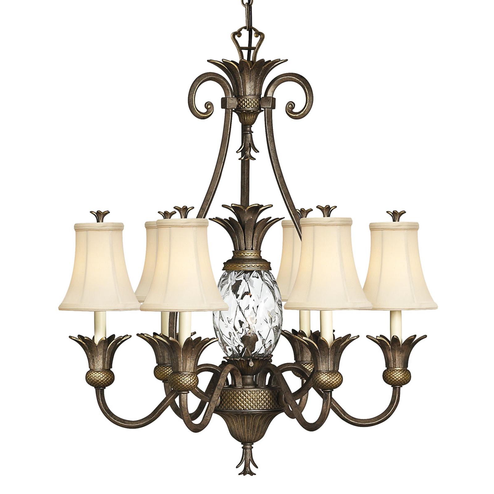 Kroonlamp Plantation met kappen, 6-lamps