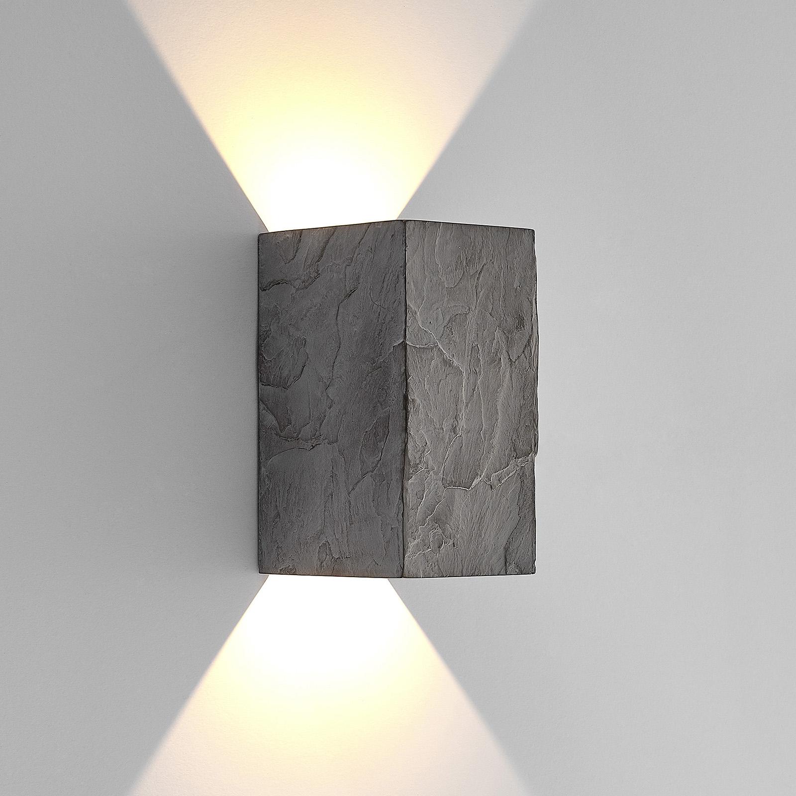 Lucande utendørs LED-vegglampe Vigga, skiferdesign