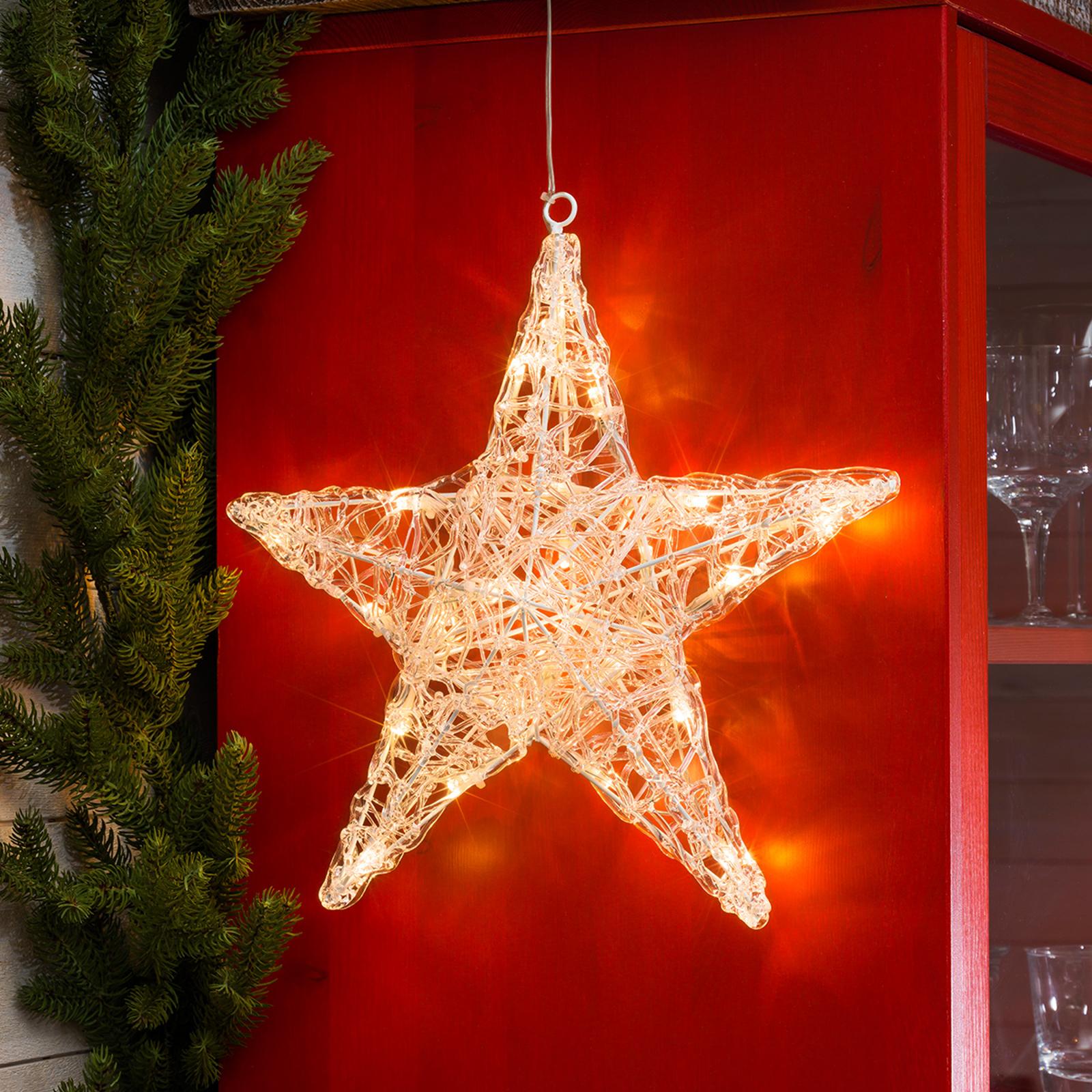 Akrylstjerne Ingar med fem spisser og LED-lys
