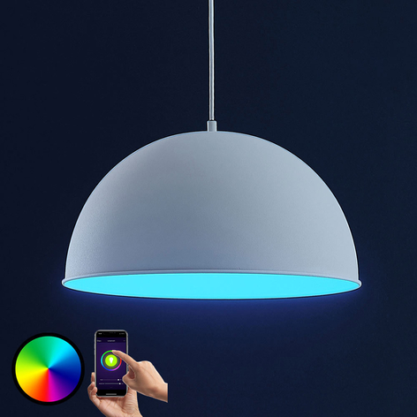 Lindby Smart LED-riippuvalaisin Bowl 41 cm valk.