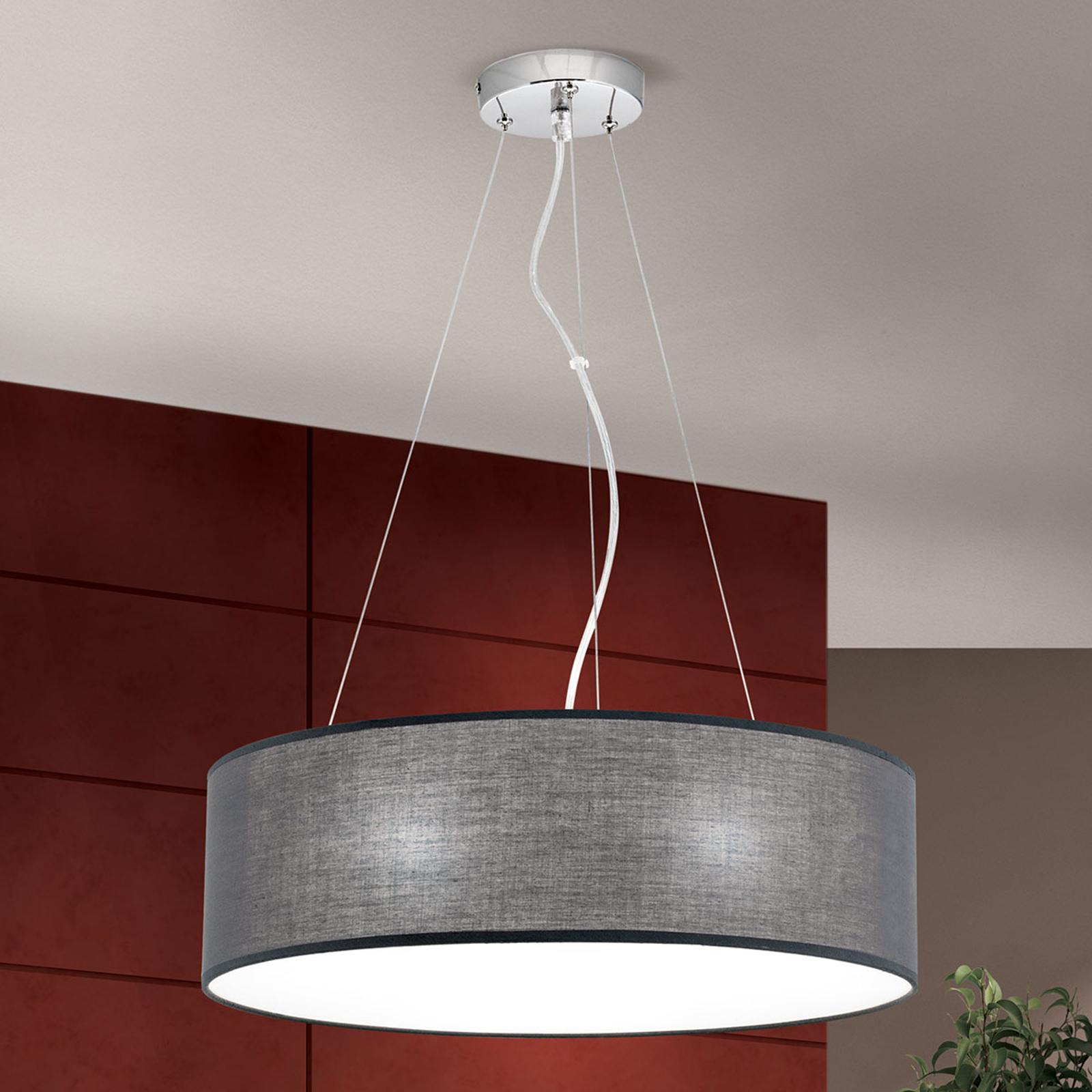 Lámpara colgante OVNI con pantalla de tela gris
