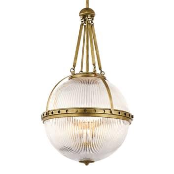 Okrągła lampa wisząca Aster, mosiężna